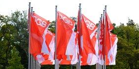 Fahnen mit DGB-Logo im Wind