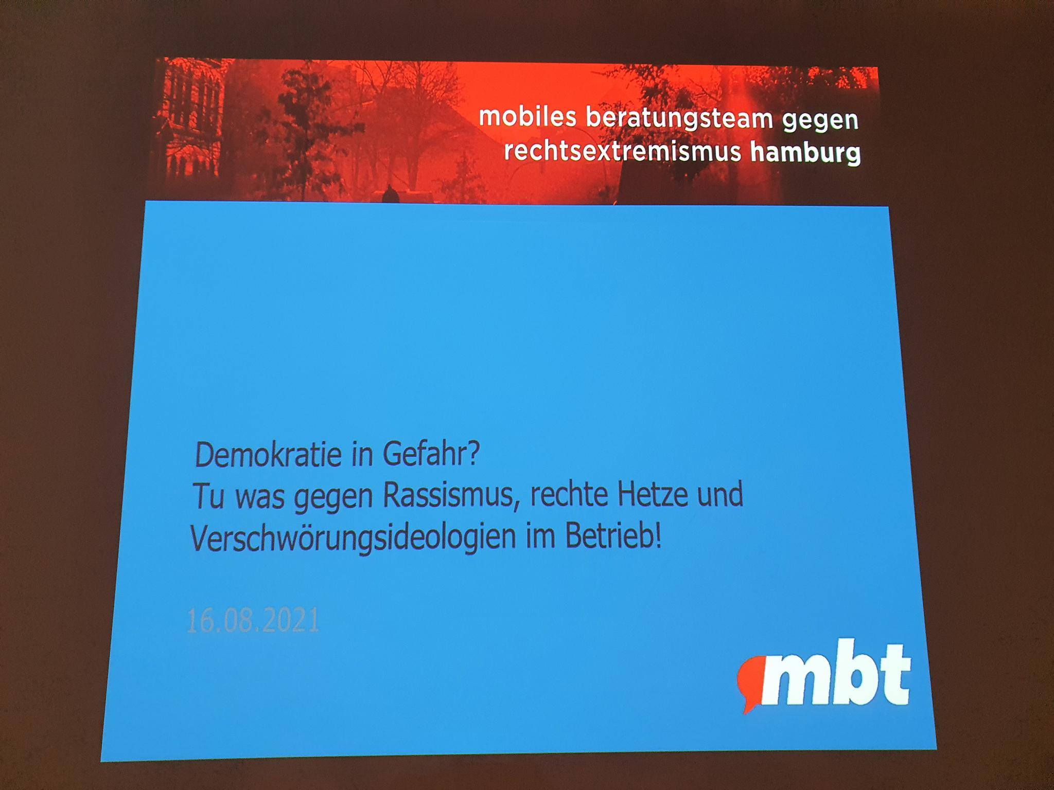 Veranstaltung in Harburg mit dem MBT 2021