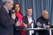 Dialog zwischen Vassiliadis, Wegner und Geißler. In ihrer Mitte Moderatorin Sen